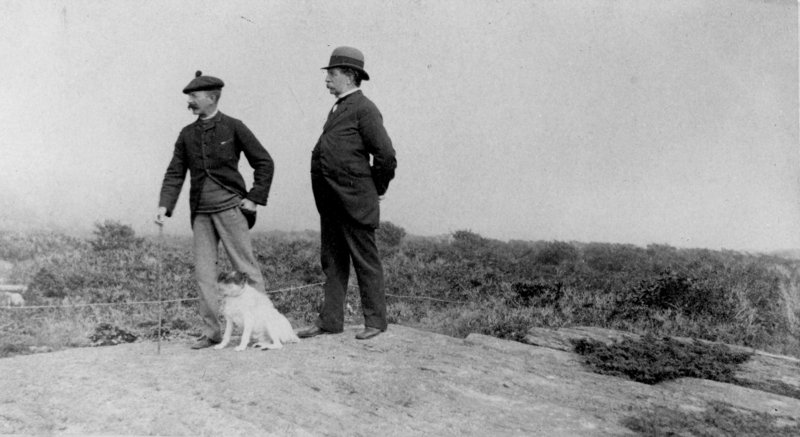 """""""Winslow Homer, his dog Sam, and his father Charles Savage Homer, Sr. at Prout's Neck, Maine,"""" taken between 1890 and 1895, photographer unknown."""