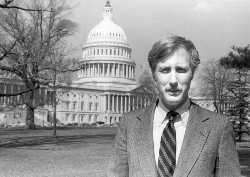 Angus King hosts a Maine Public Television program in 1981.
