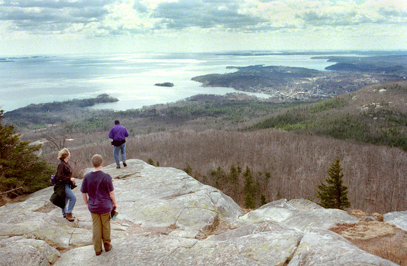 In this 1990 file photo, hikers enjoy the views from the summit of Mt. Megunticook at Camden Hills State Park. A woman fell about 60 feet from park's cliffs on Tuesday, Oct. 2, 2012.