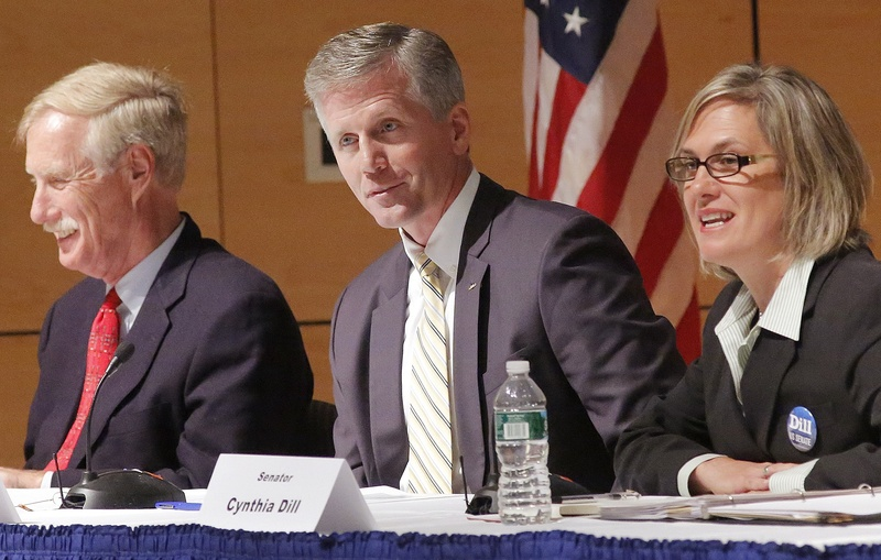 U.S. Senate cadidates, from left, independent Angus King, Republican Charlie Summers and Democrat Cynthia Dill participate in a debate at the University of Southern Maine in Portland on Sept. 13.