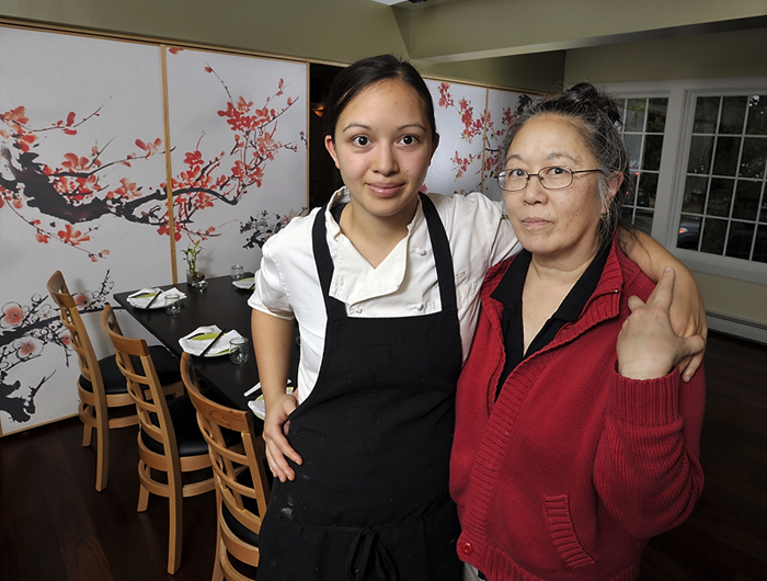 """Cecile Stadler and daughter Cara operate Tao Restaurant at 22 Pleasant St. in Brunswick with Cecile's husband, John. The restaurant seats about 52 and bears little resemblance to the lavish TAO New York and TAO Las Vegas. """"There would never be any confusion,"""" Cecile Stadler said."""