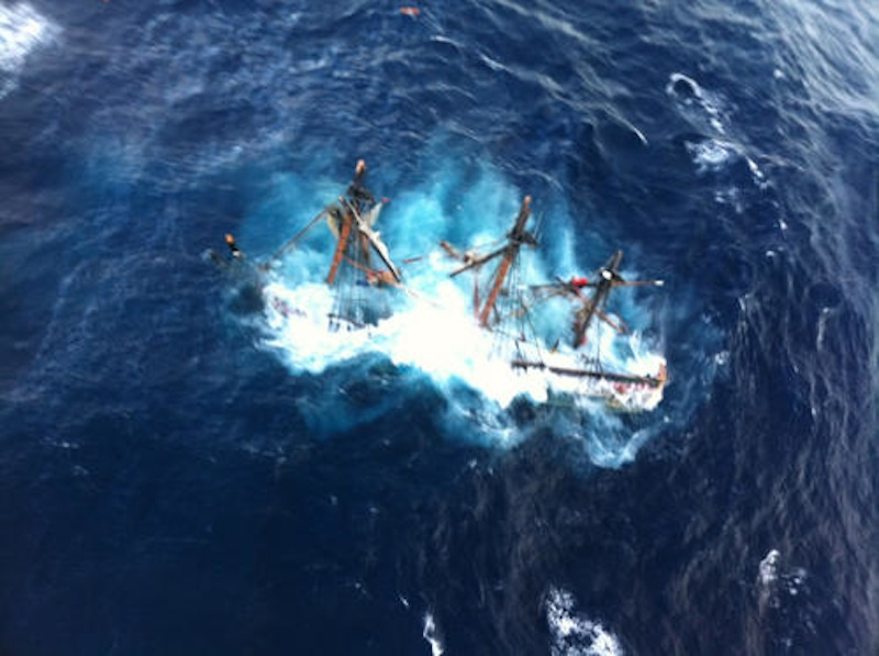 The HMS Bounty, a 180-foot sailboat, is shown submerged in the Atlantic Ocean during Hurricane Sandy approximately 90 miles southeast of Hatteras, N.C., Monday, Oct. 29, 2012. Of the 16-person crew, the Coast Guard rescued 14. One died and one is missing. ship vessel sailboat rescue submerge sunk sank Atlantic Ocean USCG U.S. Coast Guard Coast Guard Air Station Elizabeth City NC N.C. North Carolina Hatteras save Hurricane Sandy