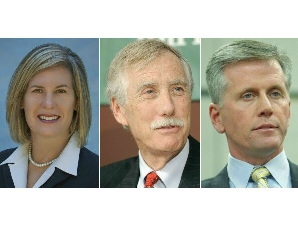 Democrat Cynthia Dill, Independent Angus King and Republican Charlie Summers.