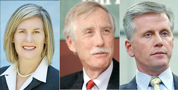U.S. Senate candidates: Democrat Cynthia Dill, independent Angus King and Republican Charlie Summers.