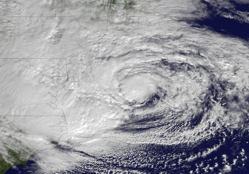 This NOAA satellite image taken Monday, Oct. 29, 2012 shows Hurricane Sandy off the Mid Atlantic coastline moving toward the north with maximum sustained winds of 90 mph. Hurricane Sandy wheeled toward land as forecasters feared Monday, raking cities along the Northeast corridor with rain and wind gusts, flooding shore towns, washing away a section of the Atlantic City Boardwalk, and threatening to cripple Wall Street and New York's subway system with a huge surge of corrosive seawater. (AP Photo/NOAA)