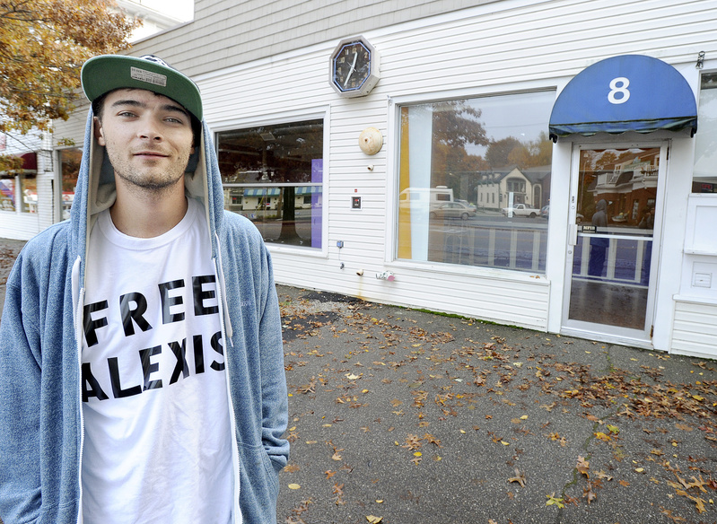 """Rapper Cam Groves, shown in front of Alexis Wright's former Zumba studio in Kennebunk, shot his music video for """"I Wish I Knew"""" on the rocky coast in Kennebunkport."""