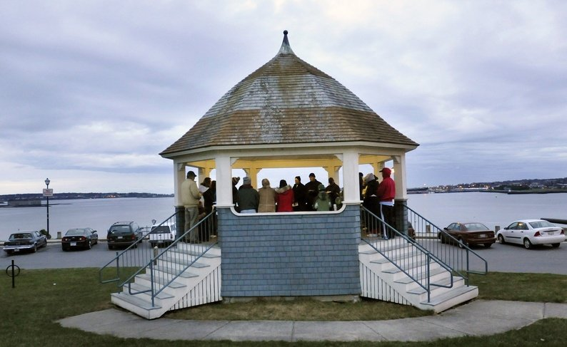 An Easter sunrise service is held on the Eastern Promenade in Portland.