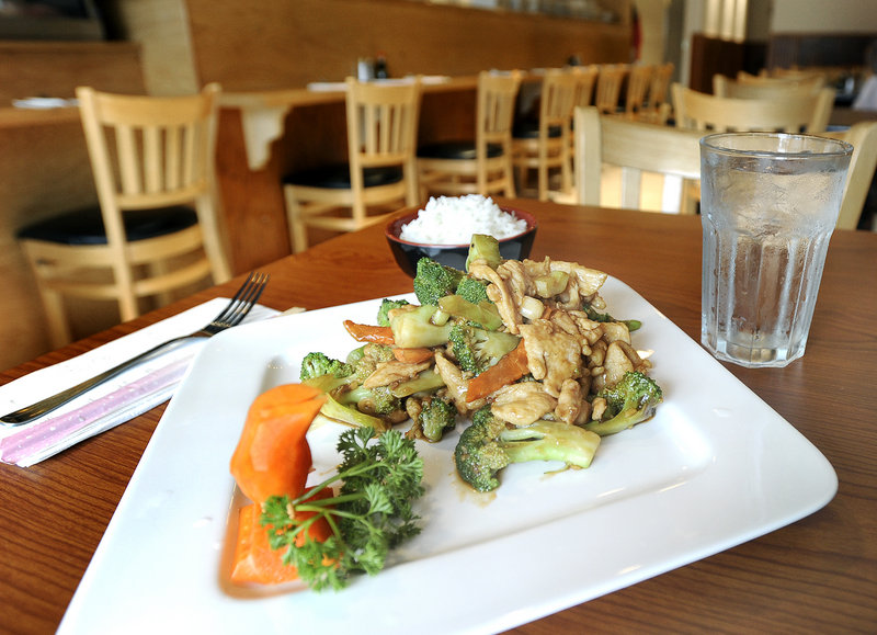 A chicken and broccoli dish at Teriyaki Exchange in South Portland.