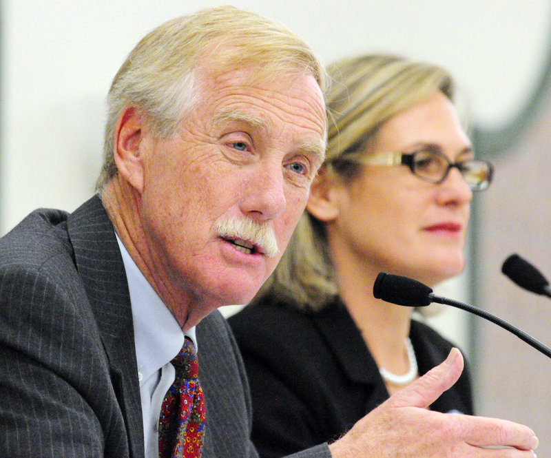Independent Angus King and Democrat Cynthia Dill at a recent debate for U.S. Senate candidates.