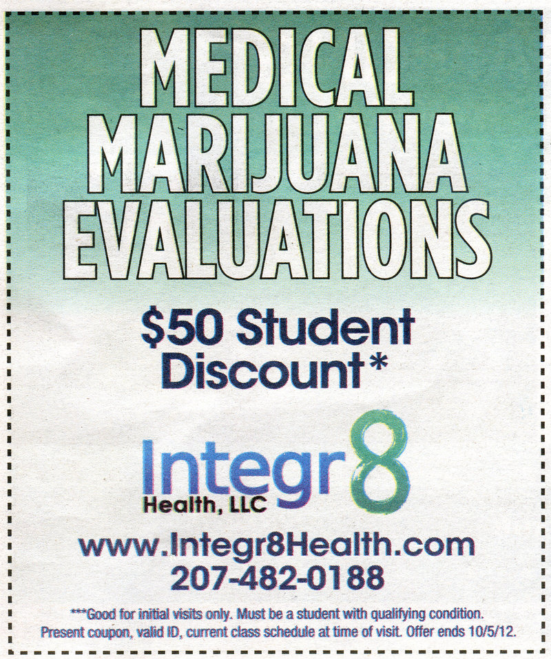 """Integr8 Health, Dr. Dustin Sulak's medical practice, ran this ad in the Portland Phoenix's Student Survival Guide supplement Sept. 14. The practice's CEO said students """"still have to have a qualifying condition"""" to obtain a marijuana prescription."""