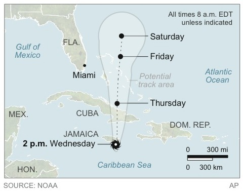 The projected path of Hurricane Sandy, which could eventually make its way up the East Coast.