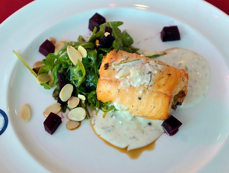 The winning recipe: Salmon Roulade with Cream Cheese Dill Sauce and Arugula Beet Salad