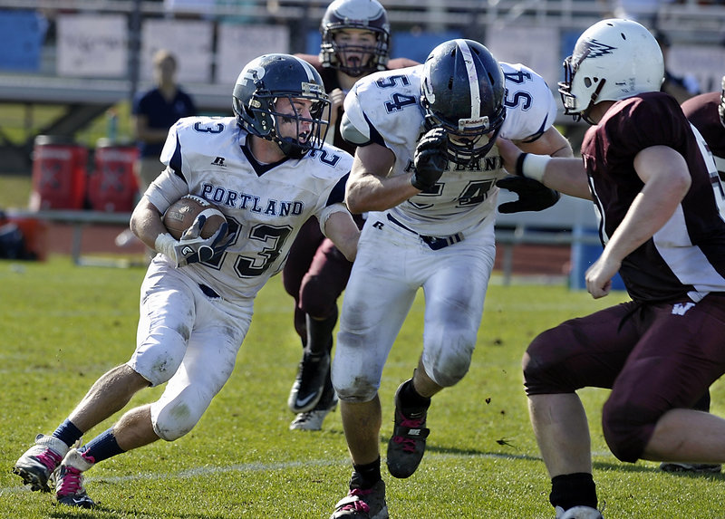 Nick Volger and fellow Portland running back Justin Zukowski played key roles Saturday in a 35-21 playoff victory over Windham.