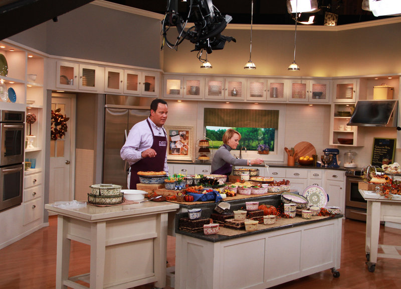 """QVC program host David Venable with Tara McConnell, above, on the set of """"In the Kitchen with David."""""""