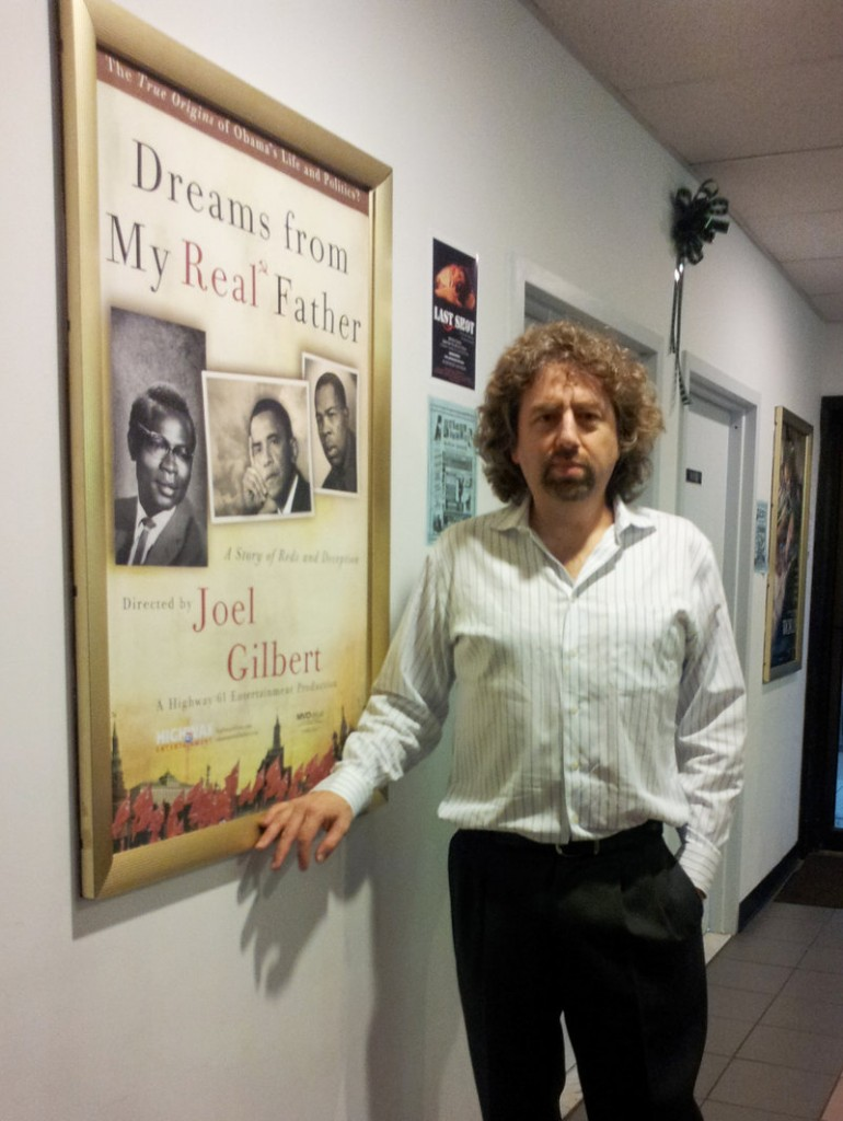 """Joel Gilbert attends a screening of his movie """"Dreams from My Real Father"""" in Bellmore, N.Y., in September. The film, mailed to 7 million homes, claims that President Obama's real father was Frank Marshall Davis, a communist agitator, author and poet who lived in Hawaii, not the former Kenyan who shares the president's name."""