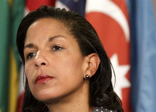 FILE - This June 7, 2012 file photo shows U.S. Ambassador to the U.N. Susan Rice listening during a news conference at the UN. Republican senators' angry criticism of Rice over her initial account of the deadly Sept. 11 attack in Libya smacks of sexism and racism, a dozen female members of the House said Friday. (AP Photo/Bebeto Matthews)
