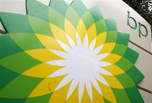 FILE - In this file photo made Oct. 25, 2007, the BP (British Petroleum) logo is seen at a gas station in Washington. British oil company BP said Thursday Nov. 15, 2012 it is in advanced talks with U.S. agencies about settling criminal and other claims from the Gulf of Mexico well blowout two years ago. In a statement, BP said