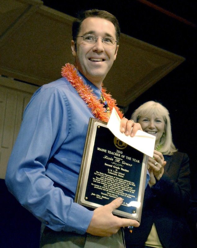 Second-grade teacher Kevin Grover holds his 2010 Maine Teacher of the Year award in this Thursday, Sept. 17, 2009 file photo taken at D.W. Lunt School in Falmouth. Grover died suddenly at age 40 on Thanksgiving.