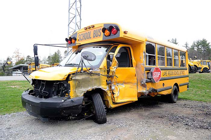 The school bus involved in a fatal collision on Route 302 in Bridgton that killed 74-year-old Jacqueline Ingalls of Casco.