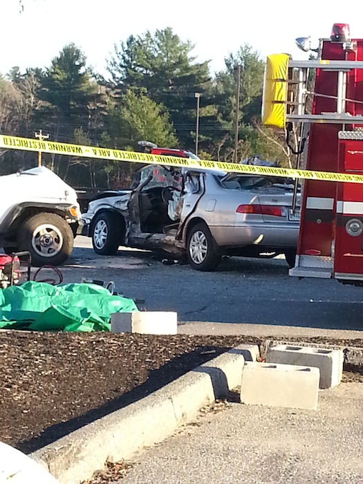 This photo shows a 2001 Toyota Camry involved in a fatal crash in Topsham on Wednesday, Nov. 14, 2012. 79-year-old Sally Lemieux died in the crash.