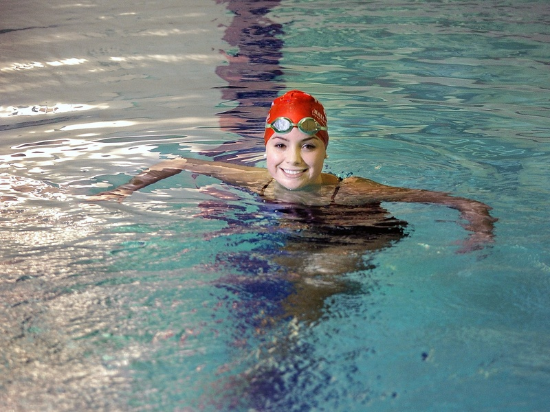 """Sarah Easterling """"is a really, really nice kid,"""" said Greely swimming Coach Rob Hale. But """"you don't realize how competitive she is. You put on a cap and add water and she's a pit bull."""""""