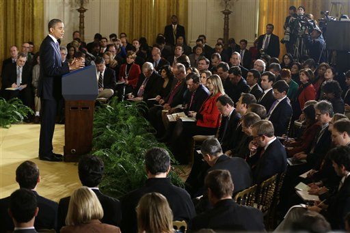 President Barack Obama answers a question during a news conference in the East Room of the White House in Washington, Wednesday, Nov.14, 2012. (AP Photo/Charles Dharapak)