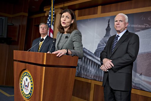 Sen. John McCain, R-Ariz., right, the ranking member of the Senate Armed Services Committee, right, joined by Sen. Lindsey Graham, R-S.C., far left, and Sen. Kelly Ayotte, R-N.H., center, says he would do all he could to block the nomination of United Nations Amb. Susan Rice to replace Secretary of State Hillary Rodham Clinton because of comments she made after the deadly Sept. 11 attack on the U.S. consulate in Benghazi, at a press conference at the Capitol in Washington, Wednesday, Nov. 14, 2012. President Barack Obama later responded in a news conference saying Rice's critics should