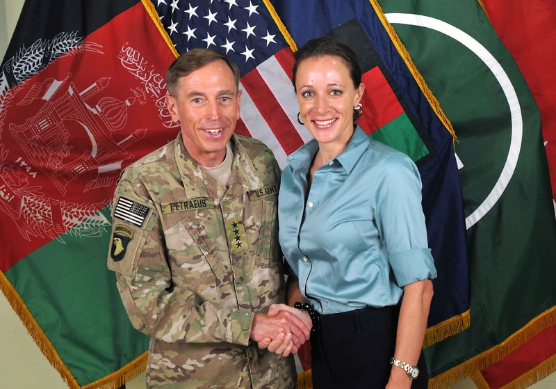 Gen. David Petraeus shakes hands with Paula Broadwell, co-author of