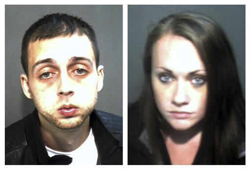 Booking photos released by the Orange County Corrections Department show Roland Dow, left, and Jessica Linscott, of Plaistow, N.H.