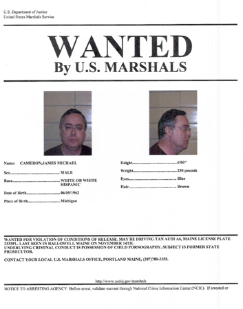 The U.S. Marshals Service wanted poster for James Cameron.