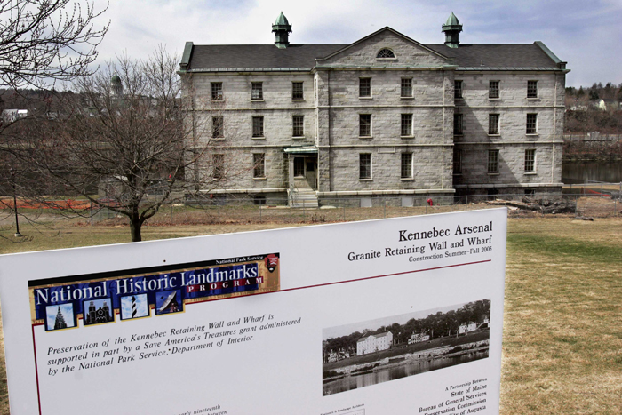 The long-abandoned Kennebec Arsenal figured to be the focal point of a riverside development of housing, shops, offices and public space that never materialized.