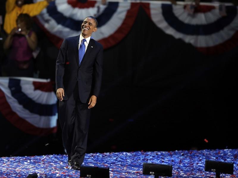 President Barack Obama XXX at his election night party Wednesday, Nov. 7, 2012, in Chicago. President Obama defeated Republican challenger former Massachusetts Gov. Mitt Romney. (AP Photo/Chris Carlson)