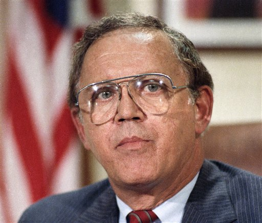 A 1986 photo of Sen. Warren Rudman, R-N.H. on Capitol Hill.