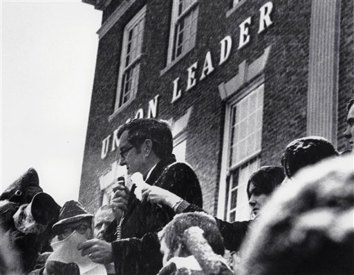 In this Feb. 26, 1972, photo Sen. Edmund Muskie, D-Maine, denounces conservative Manchester Union Leader publisher William Loeb in front of the newspaper's Manchester, N.H., building. Muskie's emotional speech came as he campaigned for the New Hampshire primary and the Democratic presidential nomination, which slid off the tracks after it was reported that he had cried in response to the newspaper's attack on his wife. Muskie maintained until his death that it had been melted snowflakes, not a tear, in his eye.