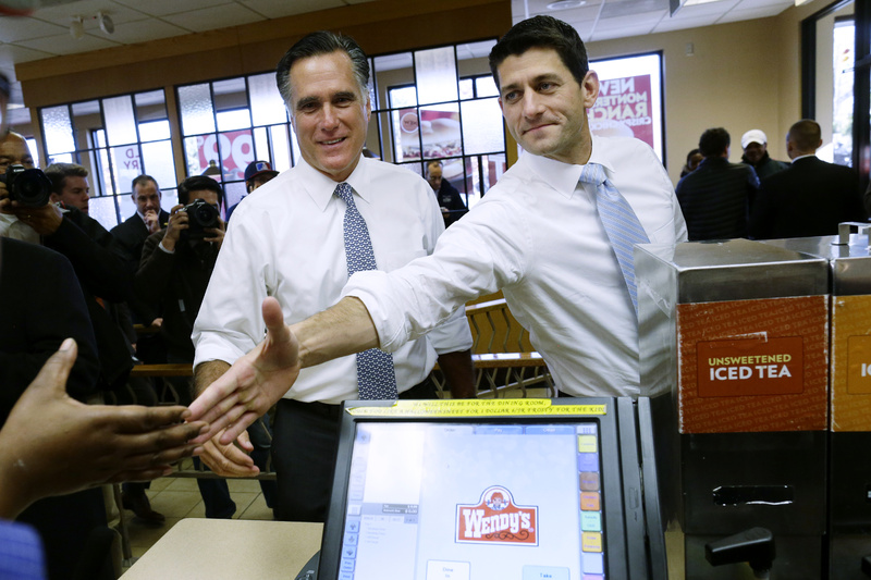 Former Massachusetts Gov. Mitt Romney and his vice presidential running mate, Rep. Paul Ryan, R-Wis., make an unscheduled stop at a Wendy's restaurant in Richmond Heights, Ohio, on Tuesday.