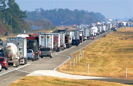 Traffic backs up on the east bound lane of Interstate 10 on Thanksgiving day after a multi-vehicle accident in southeast Texas.