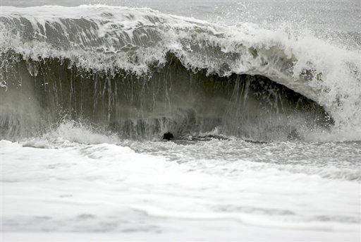 The surf at Big Lagoon beach creates a moderate undertow on Monday near Trinidad, Calif.