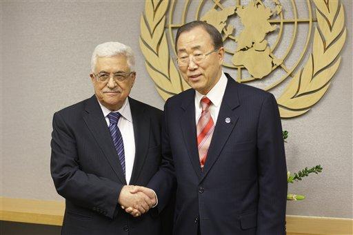 UN Secretary General Ban Ki-moon, right, shakes hands with Palestinian President Mahmoud Abbas at U.N. headquarters on Wednesday.