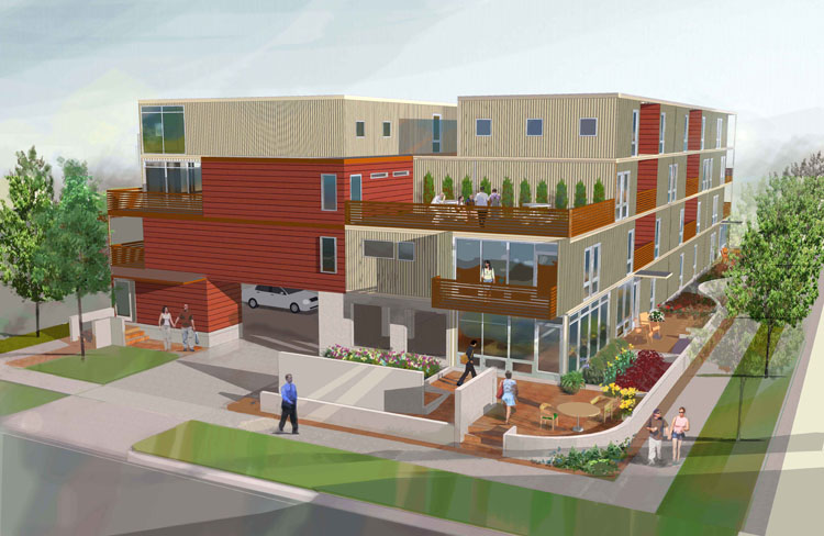 An artist's rendering of the 20-unit project known as Exceptional Green Living on Rosa Parks in Detroit.