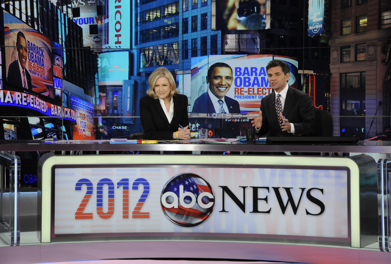 Diane Sawyer and George Stephanopoulos co-anchor ABC's election night coverage.