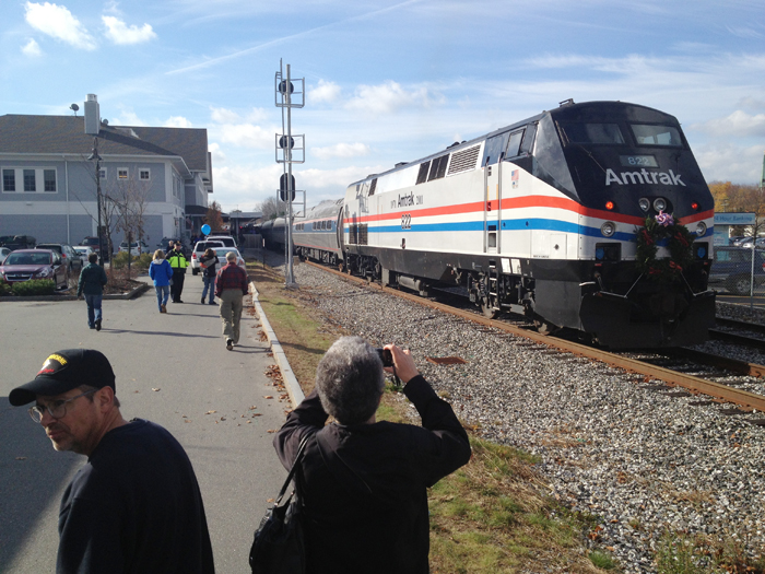 The Downeaster pulls into Brunswick station on time at 1:35 p.m. Thursday.