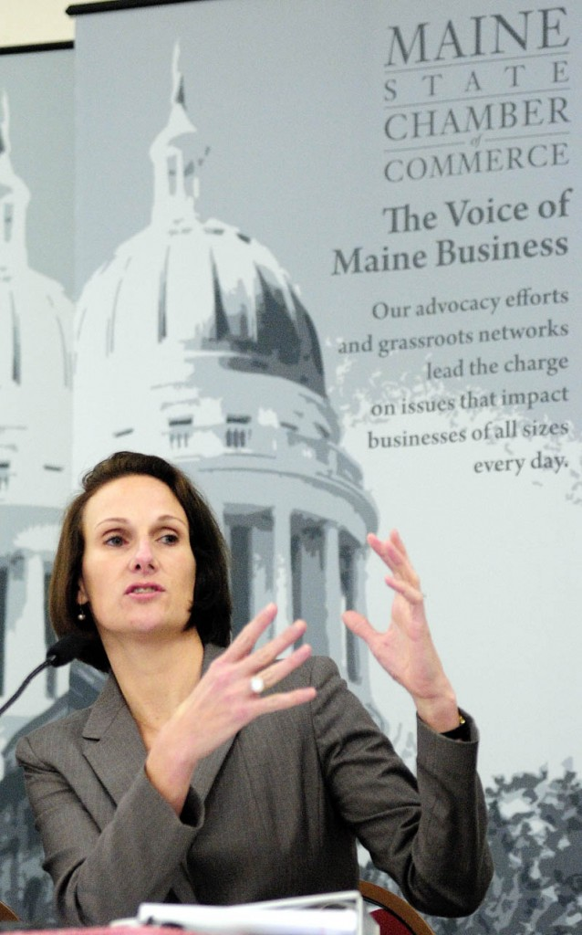 Katie Mahoney, of the U.S. Chamber of Commerce, speaks on Wednesday morning during a Maine Chamber of Commerce sponsored event on federal health care reform, on Wednesday morning at the Augusta Civic Center.