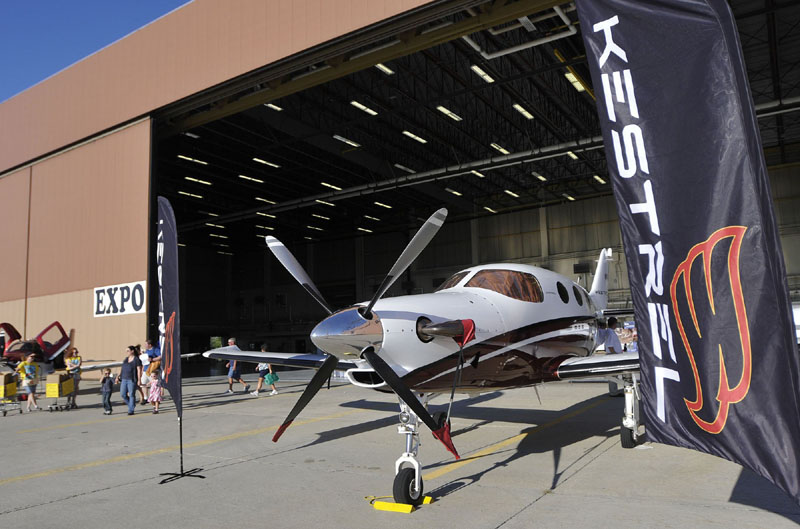 In this February 2011 file photo, Kestrel Aircraft Company shows off one of its planes during a ceremony at the former Brunswick Naval Air Station. The Midcoast Regional Redevelopment Authority has indicated that it may sue the town of Brunswick to recoup $116,700 in taxes that the authority has paid for Kestrel Aeroworks, an aviation company that employs 35 people.