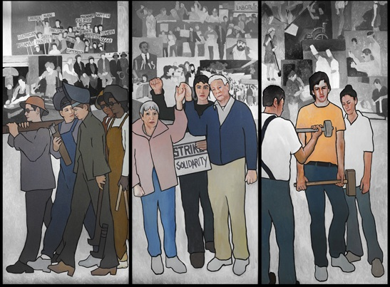 A detail of the 36-foot mural Maine Gov. Paul LePage ordered to be removed from the lobby of the Department of Labor headquarters building in Augusta in March 2011. The mural, by artist Judy Taylor, was installed in 2008. It depicts several moments in Maine labor history, including a 1937 shoe mill strike in Auburn and Lewiston and
