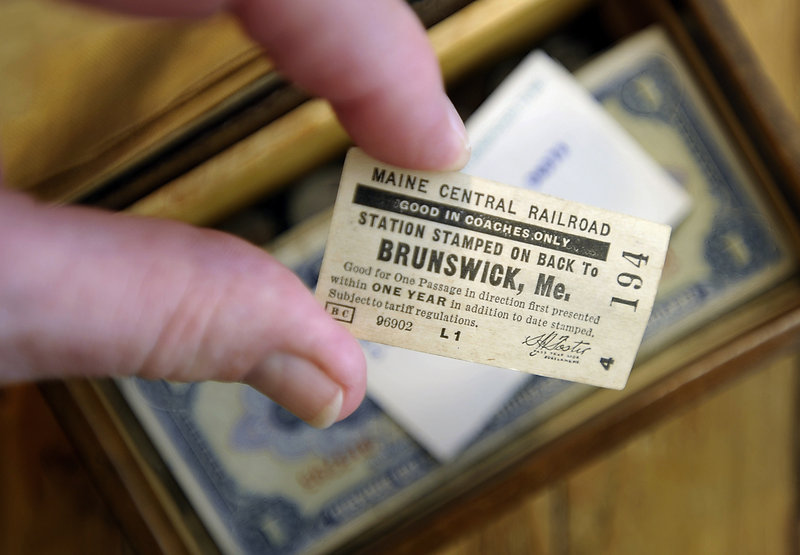This is the last ticket that Nelson Soule, Freeport's last station agent, stamped for himself before taking a final trip to Brunswick on the last day of passenger service on Sept. 5, 1960.