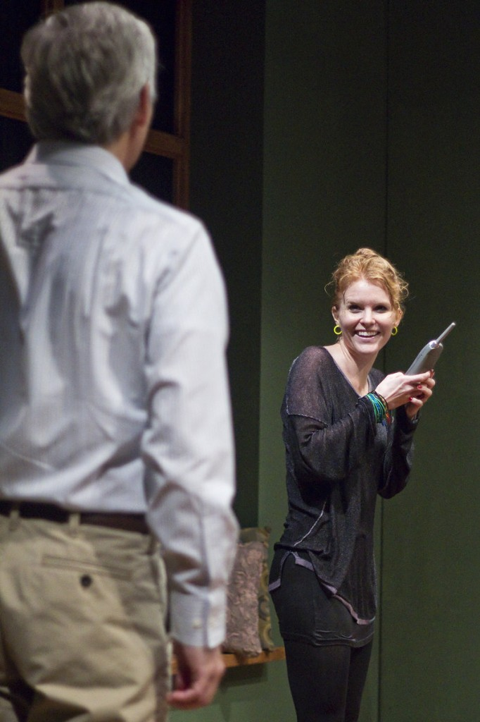 """Noel (David Adkins) interacts with Claudia (Leslie Shires) in """"Homestead Crossing"""" at Portland Stage."""