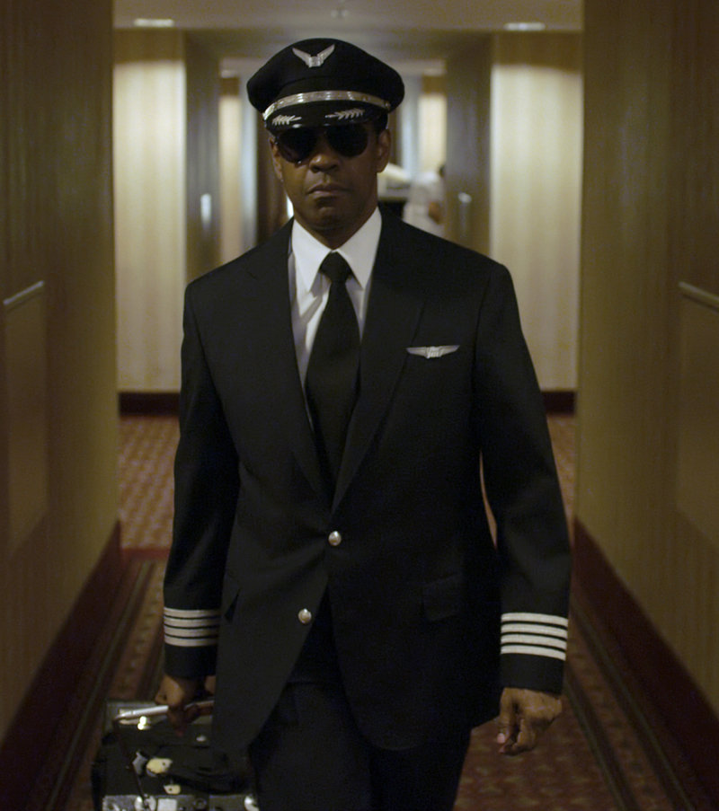 Denzel Washington as morally conflicted airline pilot Whip Whitaker.
