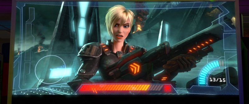 Jane Lynch is over-the-top funny as the voice of Sgt. Calhoun, a character in a first-person shooter game.