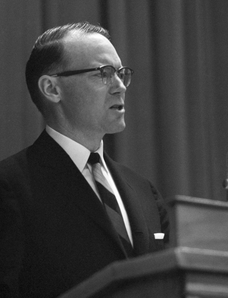In this Dec. 11, 1963 file photo, Gov. John H. Reed of Maine speaks before the Agriculture department in Washington.