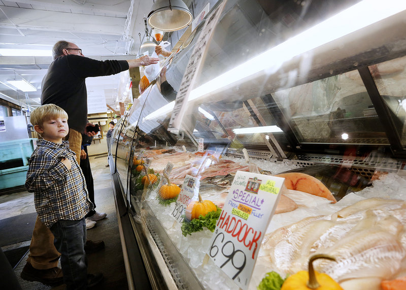 Miles Foster, 4, checks out the seafood for sale at Harbor Fish Market while his grandfather, Craig Foster of Portland, purchases haddock on Saturday.